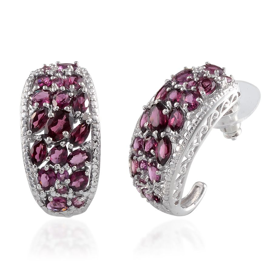 Orissa Rhodolite Garnet Diamond Platinum Over Sterling Silver J Hoop Earrings Tdiawt 0 030cts Tgw 6 60 Cts Luxuryjewelry Promotions Online
