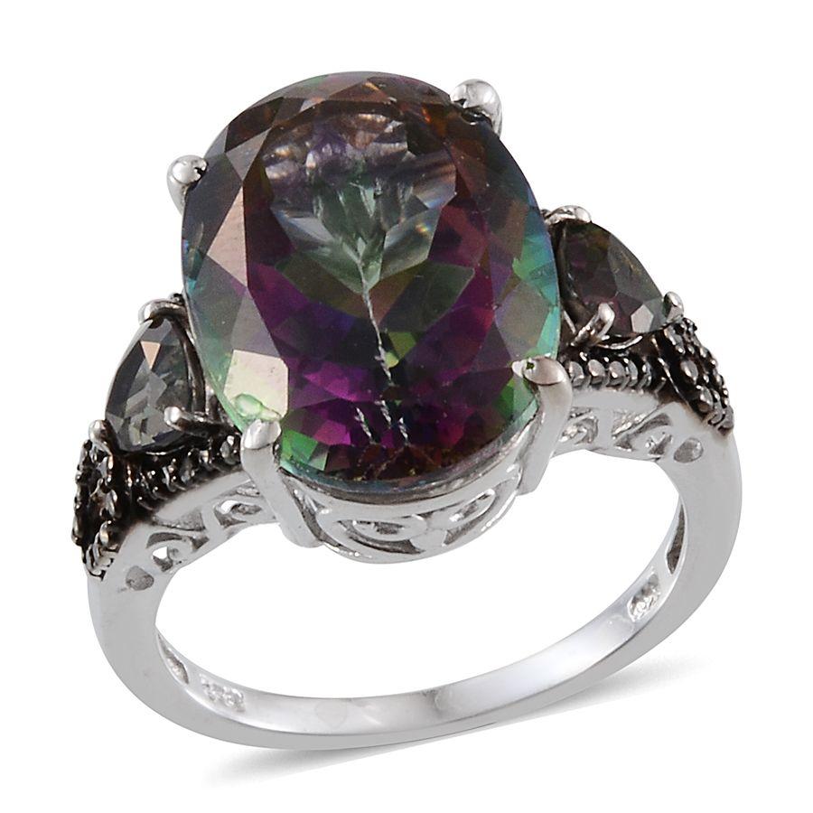 Northern Lights Mystic Topaz Ovl 15 75 Ct Black Diamond Ring In Platinum Overlay