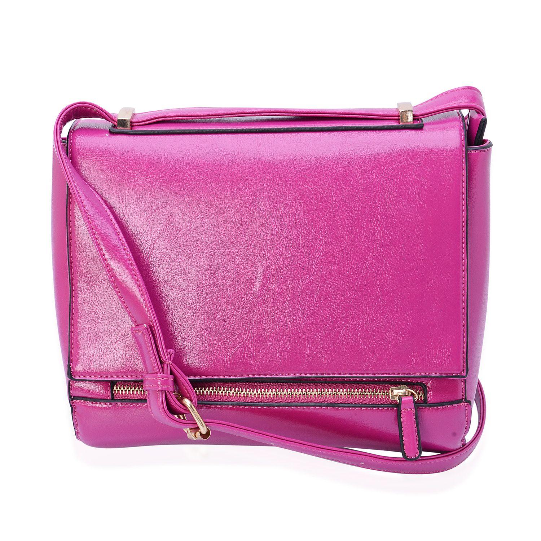 beaeaad9244d J Francis - Fuchsia Faux Leather Crossbody Bag (10x4x8 in)