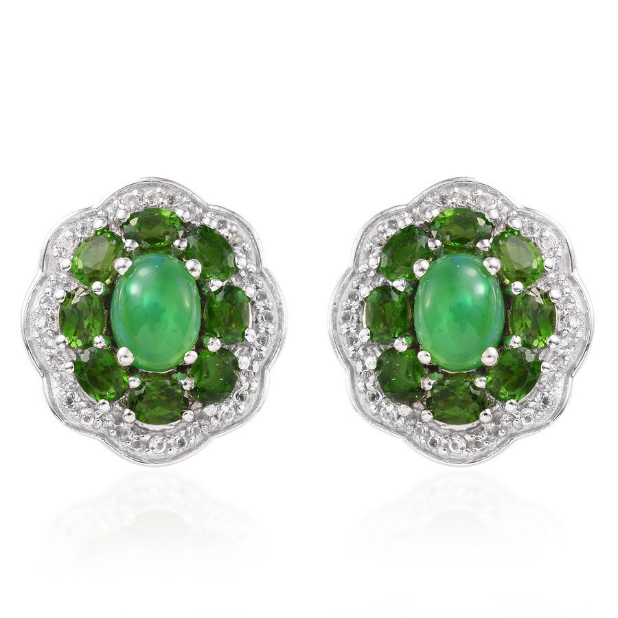 Green Ethiopian Welo Opal Russian Diopside White Topaz Platinum Over Sterling Silver Stud Earrings