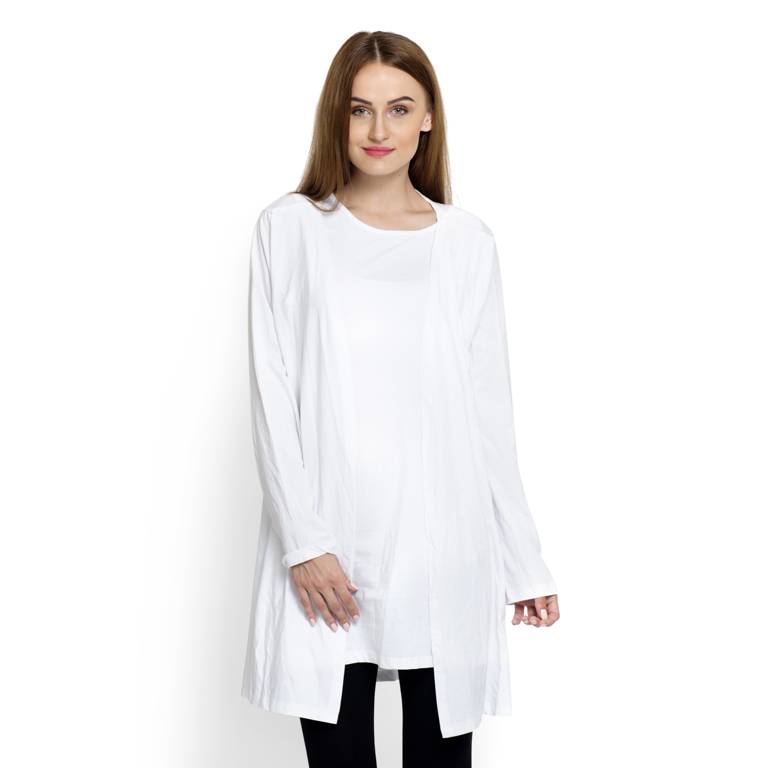 White 100% Cotton Long Sleeve Cardigan with Tank Top (Large/ Extra ...
