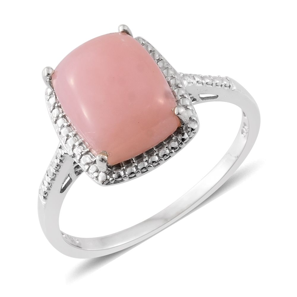 Peruvian Pink Opal Platinum Over Sterling Silver Ring (Size 7.0) TGW ...