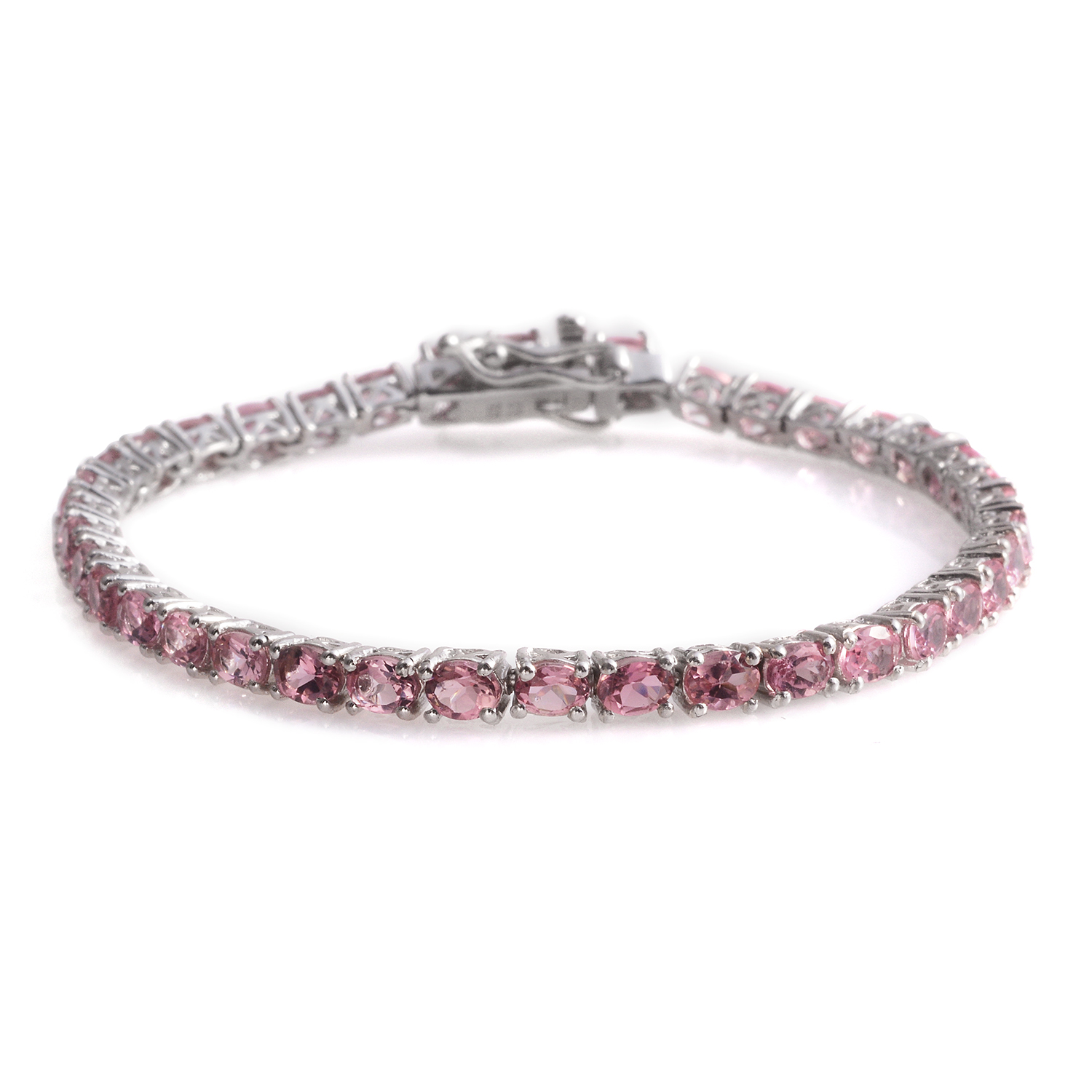 Pink Tourmaline Platinum Over Sterling Silver Tennis ...