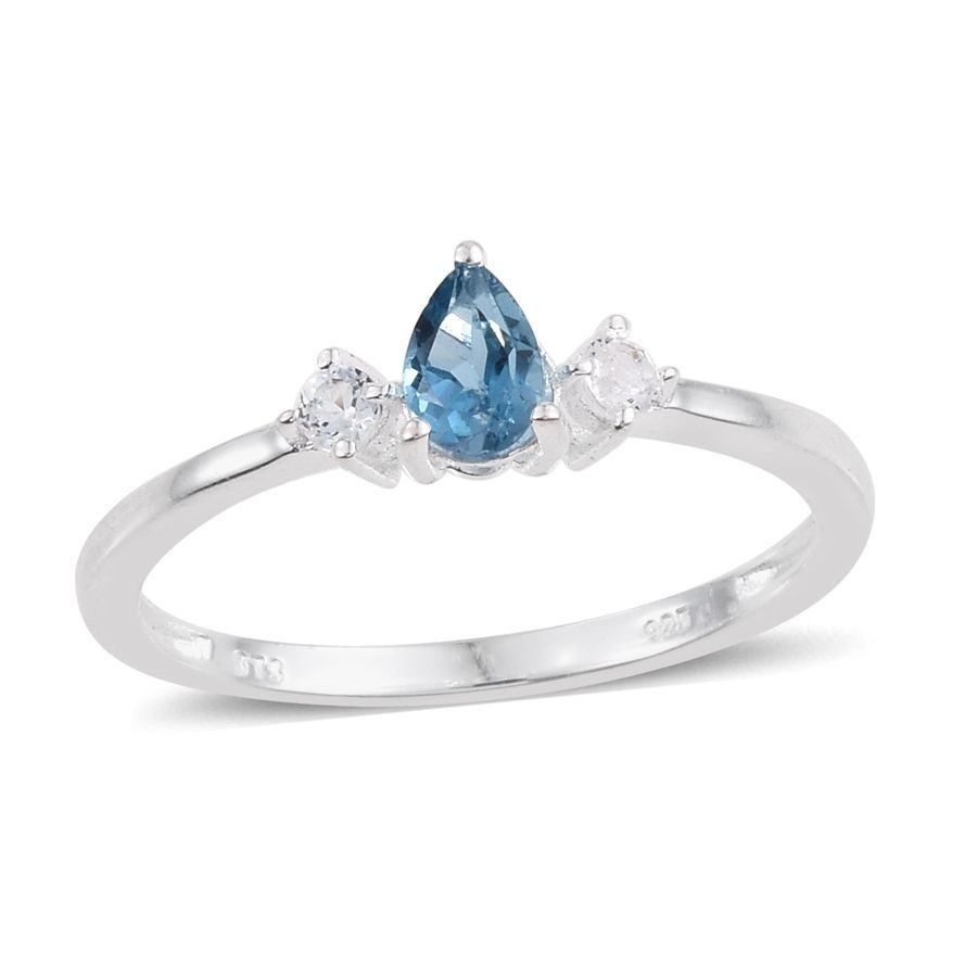blue topaz white topaz sterling silver ring size