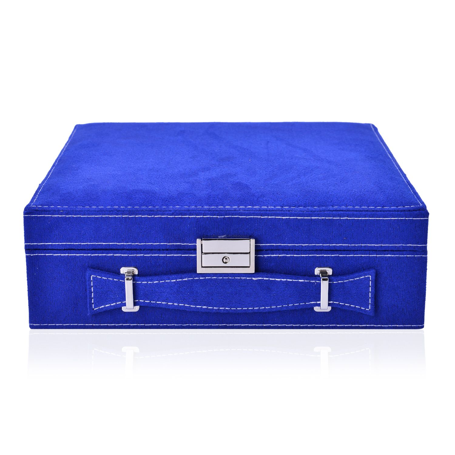 Royal Blue Velvet 2 Tier 23 Sections Jewelry Box with Anti ...
