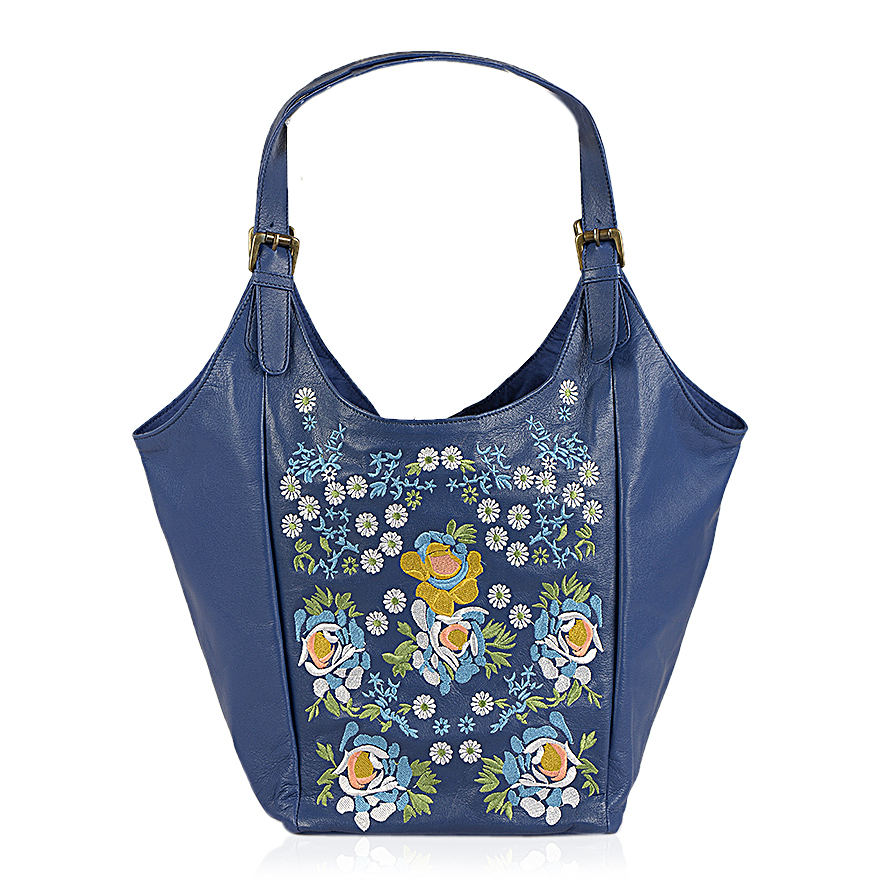 Blue Floral Embroidered 100% Genuine Leather Hobo Handbag (16x20x8.5 In) | Hobo | Handbags ...
