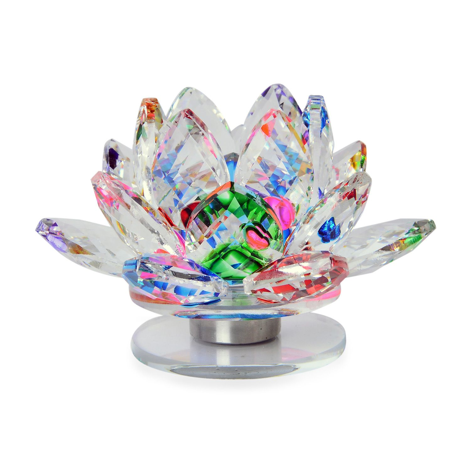 Home Decor Multi Color Glass Lotus Flower With Led Light Table