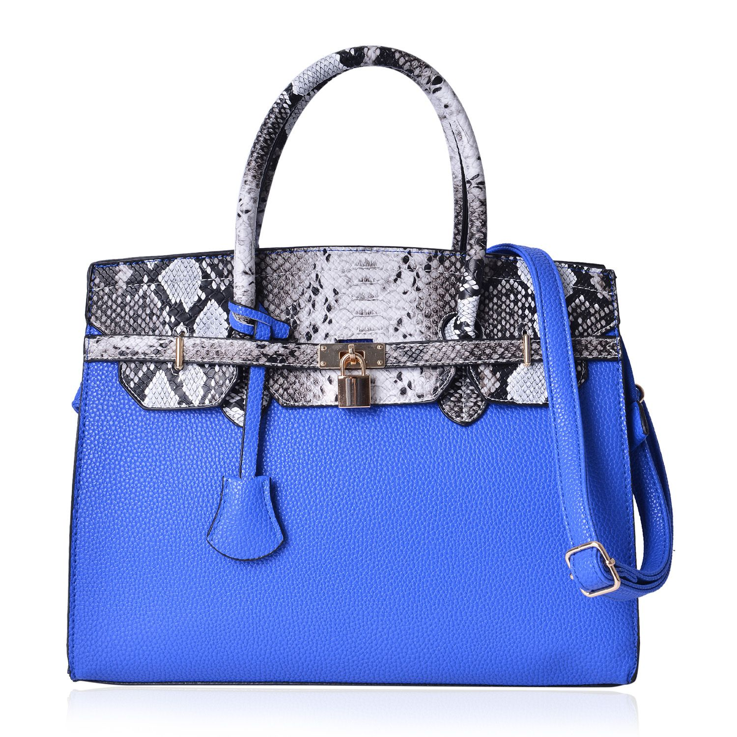 Blue and Snake Skin Pattern Faux Leather Structure Bag with Stand Studs and  Removable Shoulder Strap (14x6x10 in)