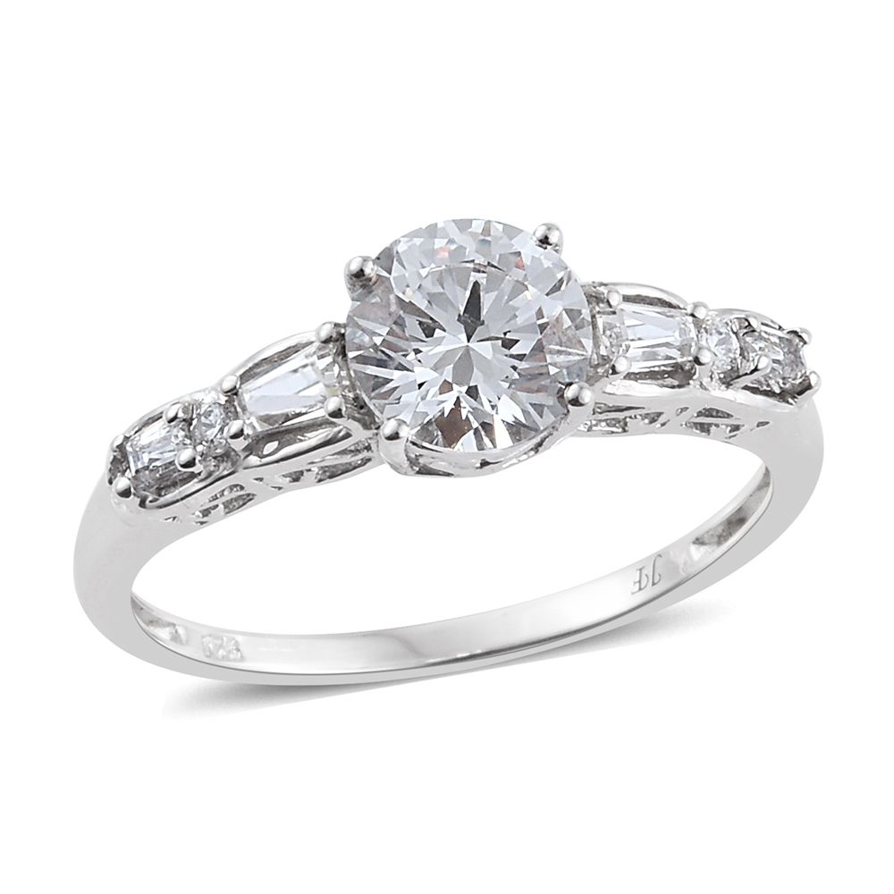 J francis platinum over sterling silver ring made with for Swarovski jewelry online store