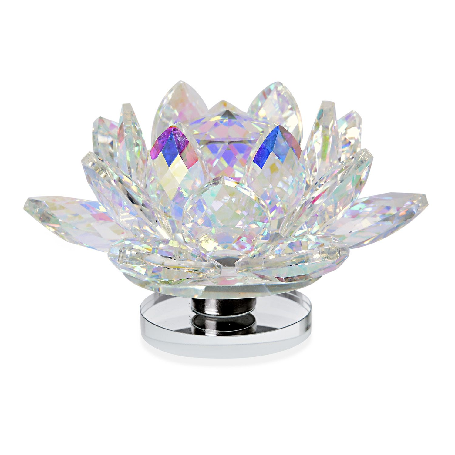 Aurora Borealis Glass Rotatable Crystal Lotus Flower 5x2 In Shop Lc