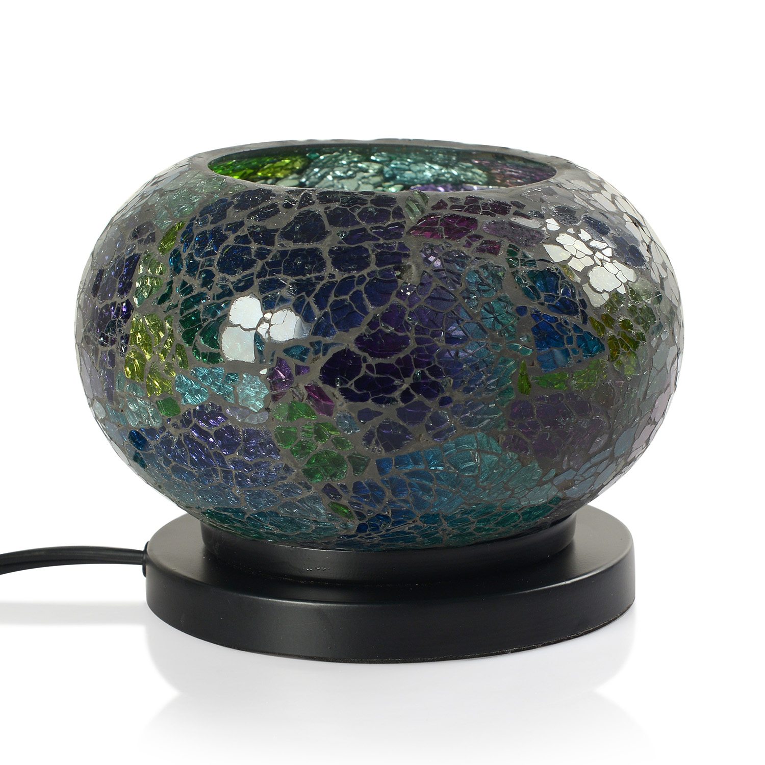Handcrafted Gray with Multi Color Mosaic Electric Lamp with Himalayan Salt (6 in) table-decor ...