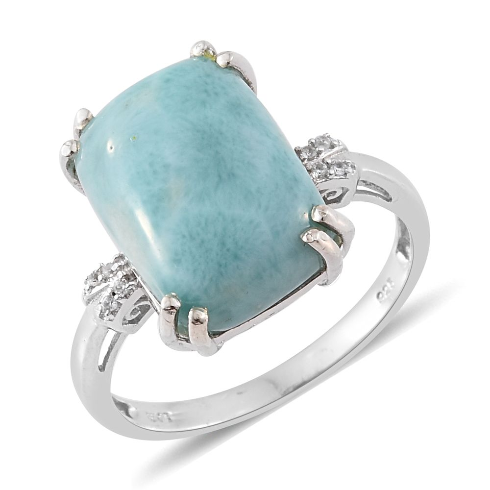 e120a2069 Sea Mist Larimar, Cambodian Zircon Platinum Over Sterling Silver Ring (Size  10.0) TGW 12.63 cts. | Shop LC