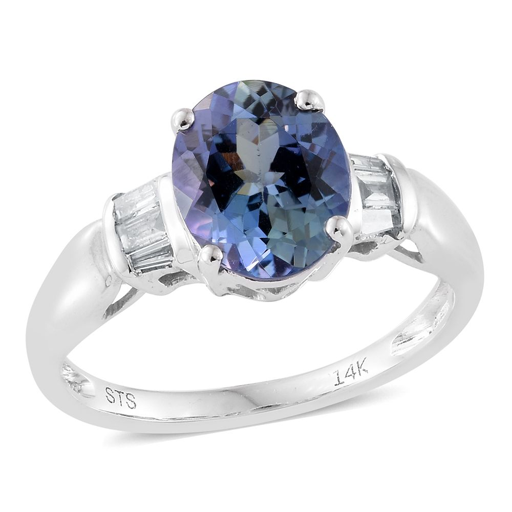 sterling platinum size silver over peacock tgw itm ring cts tanzanite