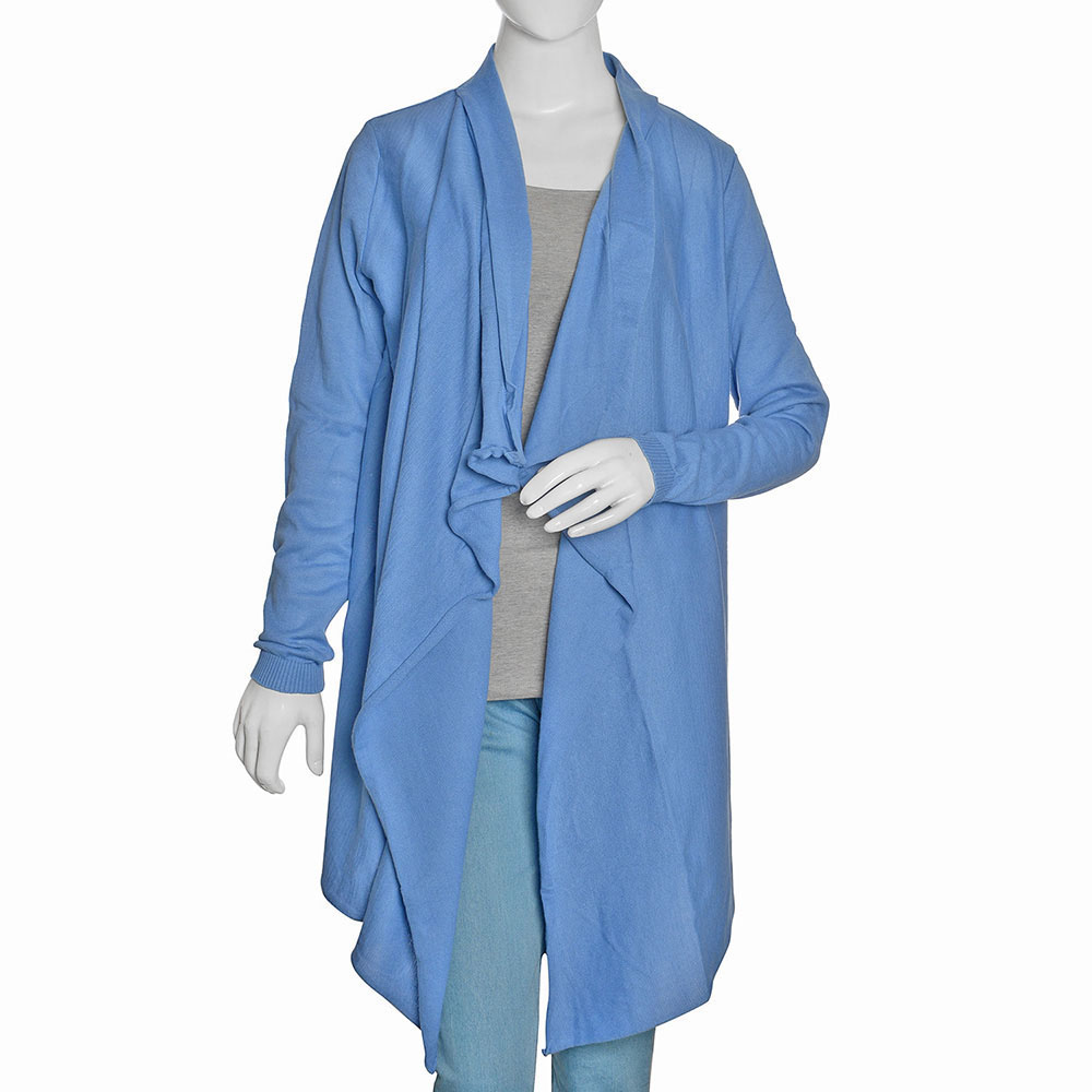 Blue 100% Cotton Waterfall Cardigan | cardigans | tops | fashion ...