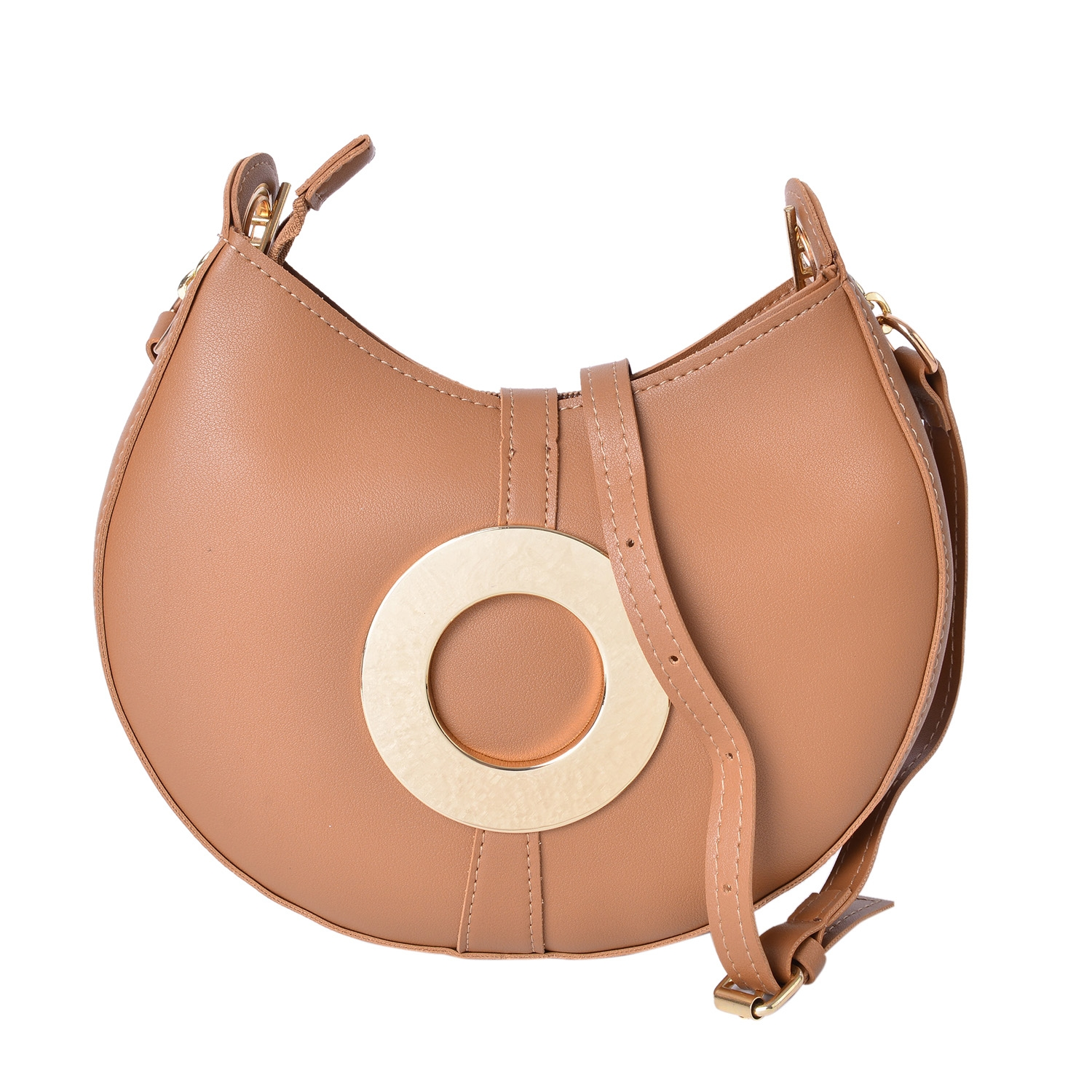 4c95dedf54 Camel Faux Leather Clutch or Crossbody Saddle Bag with Removable Toggle  Clasp Belt Inspired Strap (