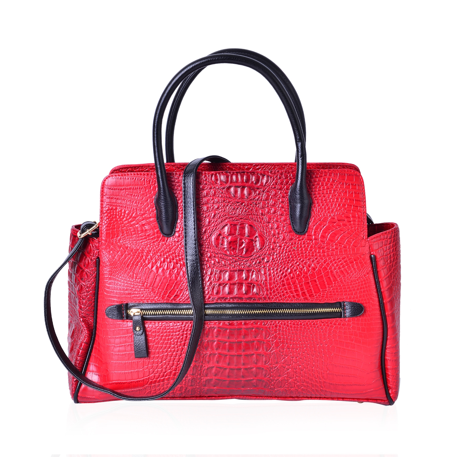 ce8913a315 Red and Black Crocodile Embossed Vegan Leather Tote Bag with Removable  Strap and Standing Studs (16.5x5x13 in)