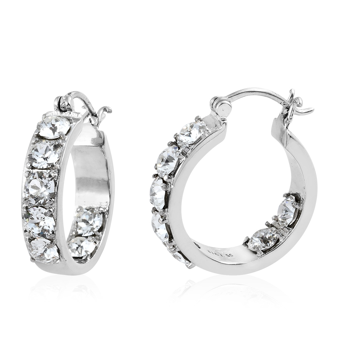 Stainless steel hoop earrings made with swarovski white for Swarovski jewelry online store