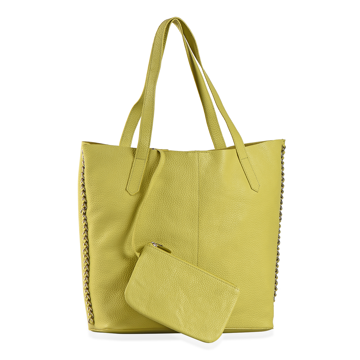 Lime Green 100 Genuine Leather Tote Bag With Snap Closure 14 5x4x13 In