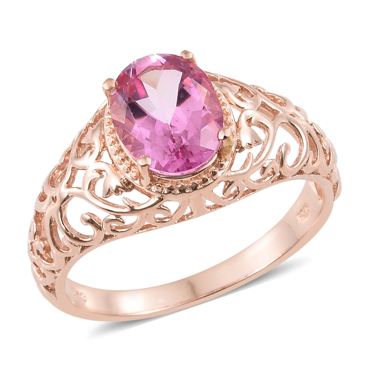 Pure Pink Mystic Topaz Vermeil RG Over Sterling Silver Ring (Size ...