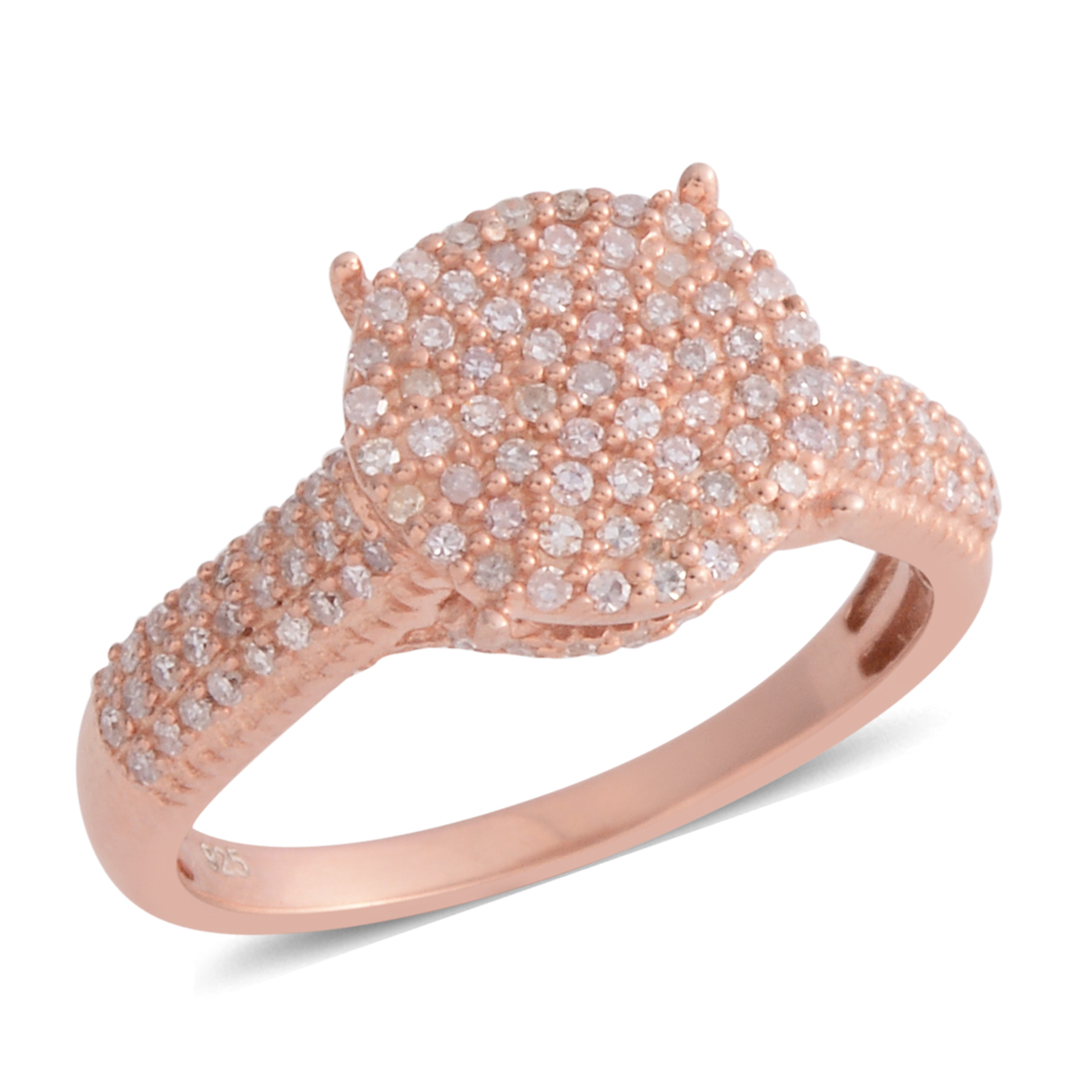 Natural Pink Diamond 14K RG Over Sterling Silver Ring (Size 7.0 ...