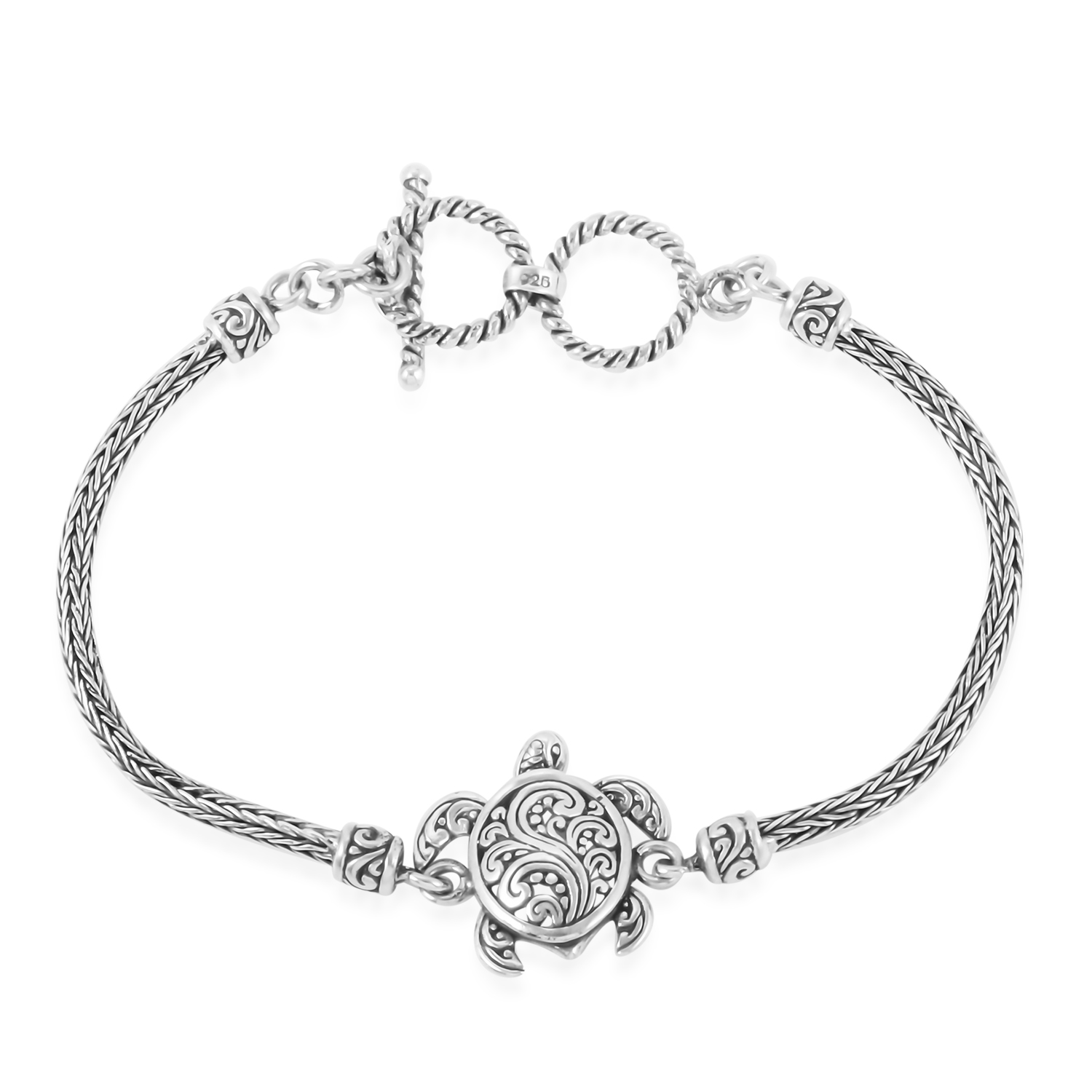 Bali Legacy Collection Sterling Silver Turtle Tulang Naga Bracelet 7 50 In 11 5 G