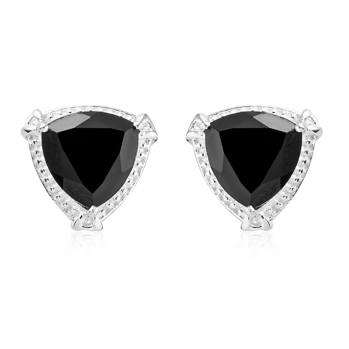 New 925 Sterling Silver Trillion Black Spinel Earring Cttw