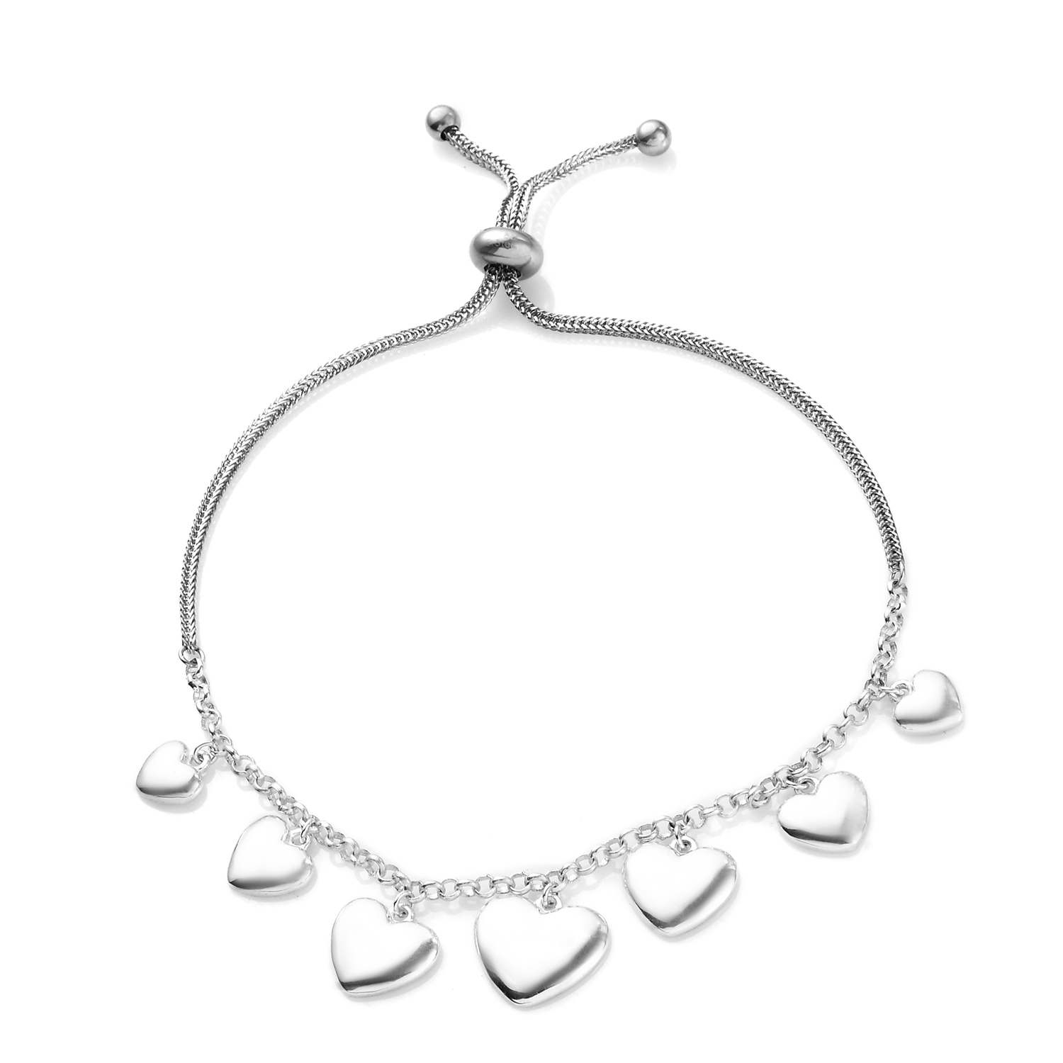 Gemstone Platinum Plated Bolo Heart Love Cut Outs Slider Bracelet Jewelry Gift