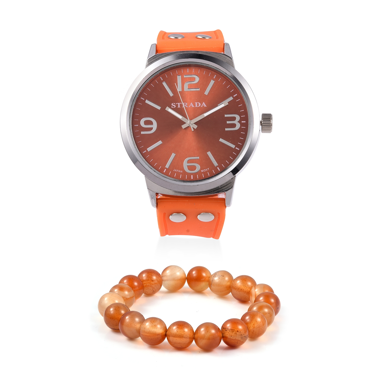 STRADA Japanese Movement Watch with Orange Silicone Band and Stainless  Steel Back   Enhanced Orange Quartz 303fd3c05cae6