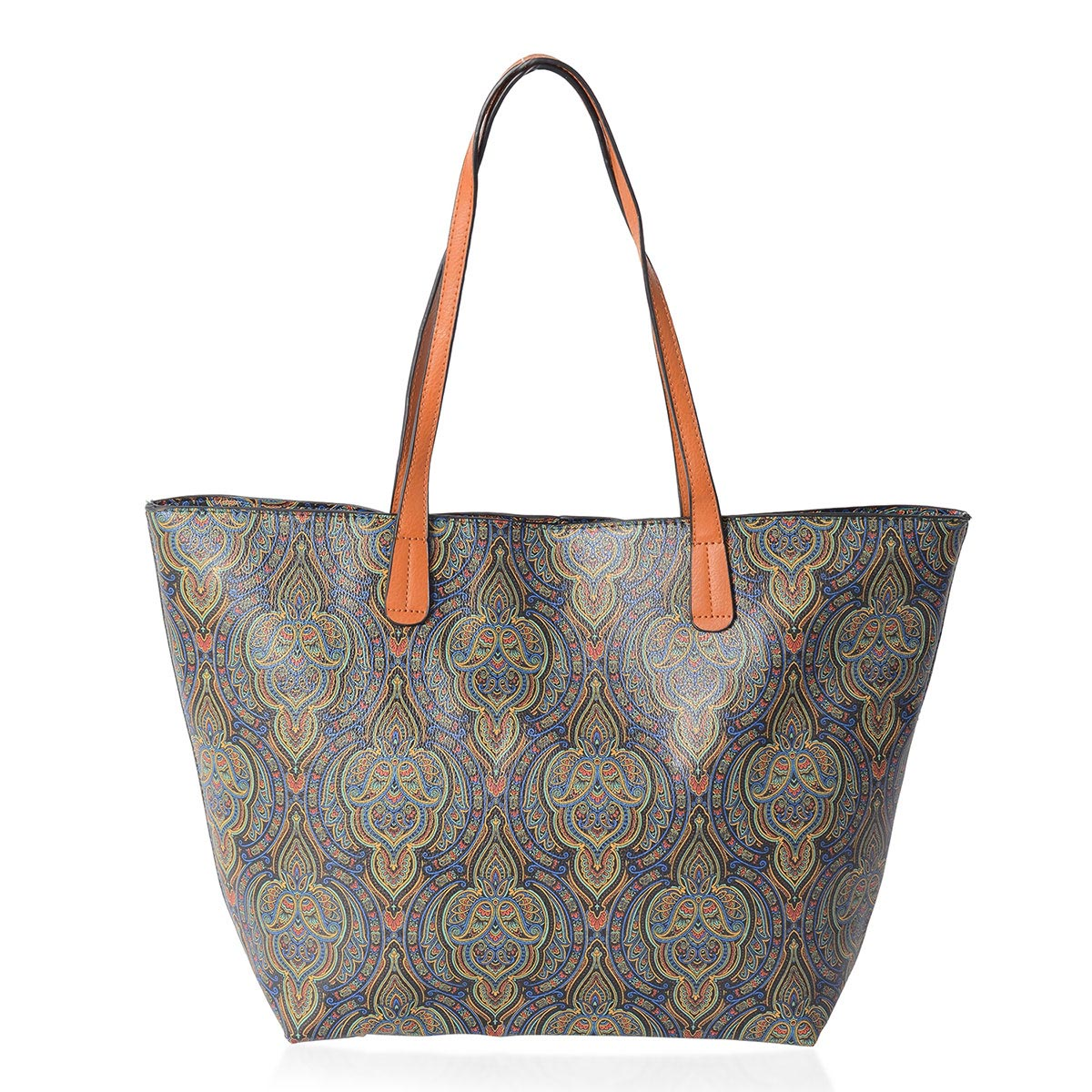 b923d032b3ad Blue and Light Yellow Floral Pattern Faux Leather Tote Bag (18.5x12x12 in)