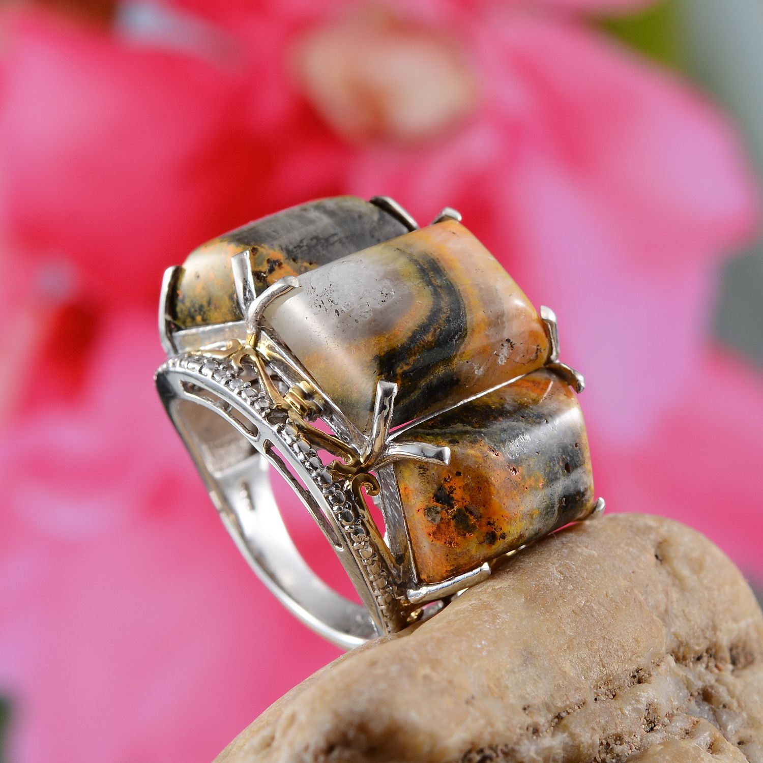 Bumble Bee Jasper, Diamond Accent 14K YG and Platinum Over Sterling ...