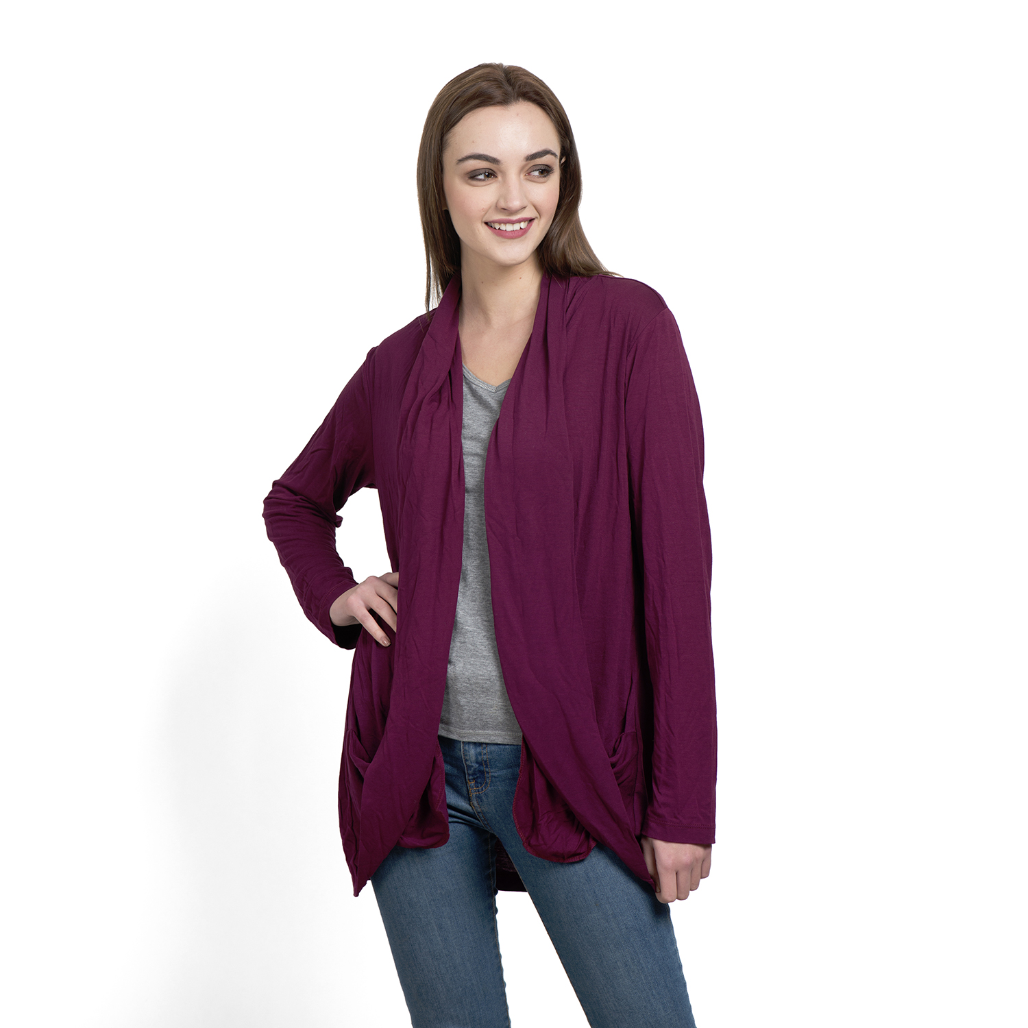 Burgundy 100% Viscose Waterfall Cardigan | cardigans | tops ...