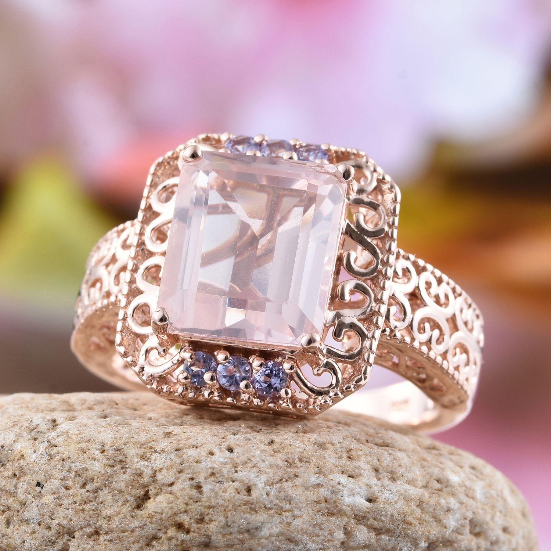 Galilea Rose Quartz Tanzanite 14K RG Over Sterling Silver Ring