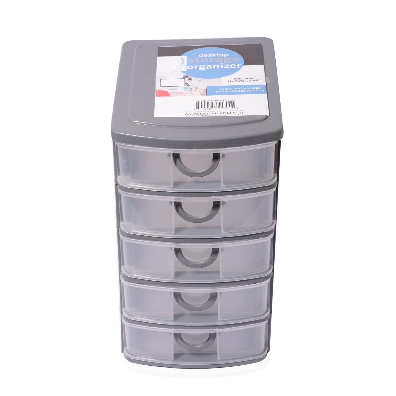 Gray 5 Drawer Desktop Storage Oraganizer In