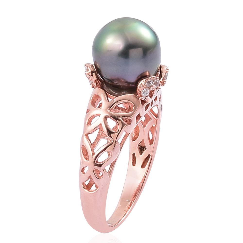 Tahitian Pearl, White Zircon 14K RG Over Sterling Silver Ring (Size ...