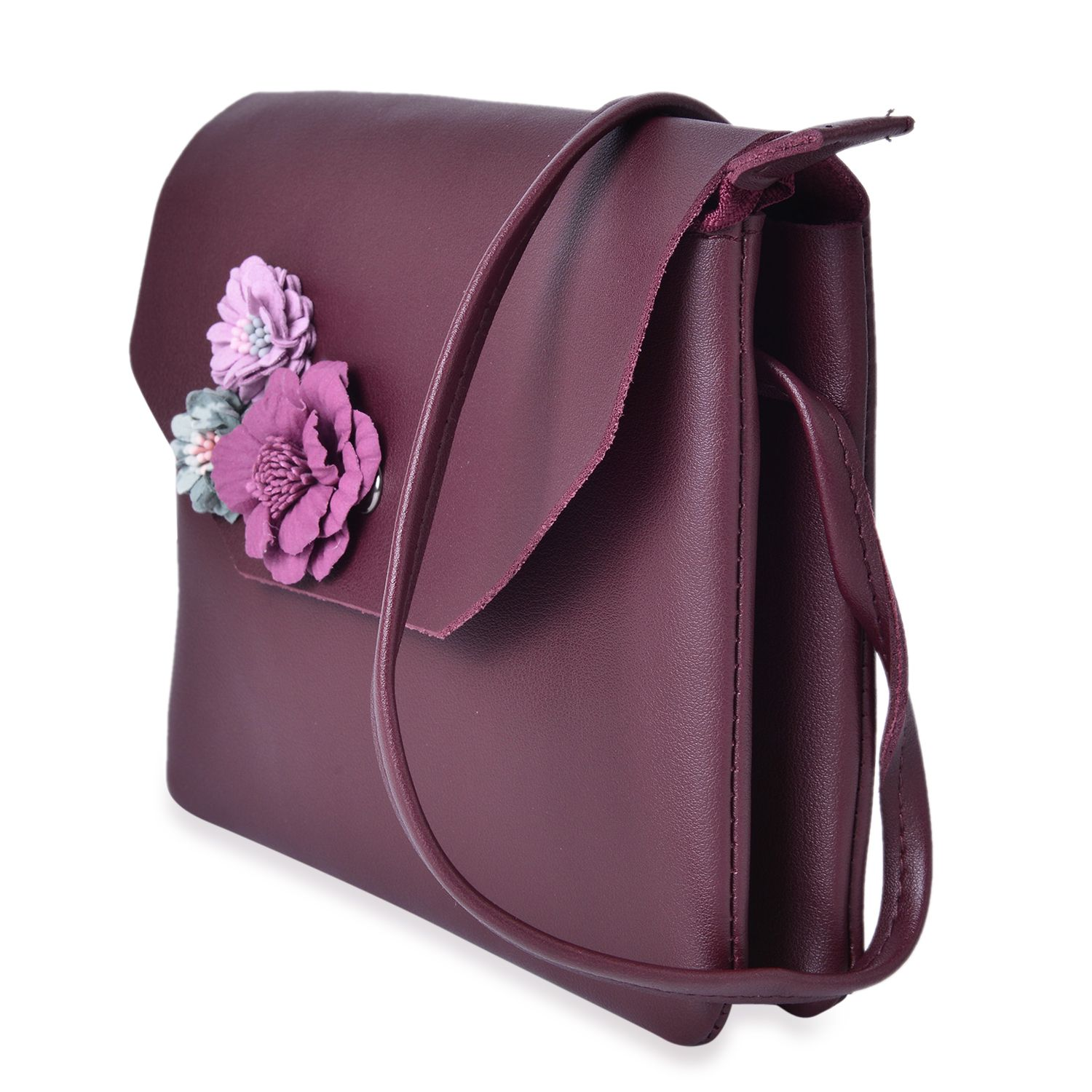 Burgundy Faux Leather 3D Floral Crossbody Bag (7.5x6.5 in)  a587b453ad2fc