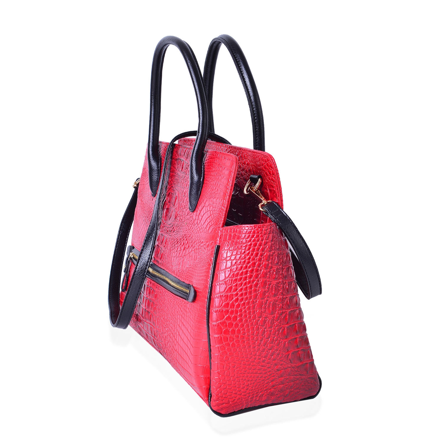 60d953110a ... Red and Black Crocodile Embossed Vegan Leather Tote Bag with Removable  Strap and Standing Studs ...