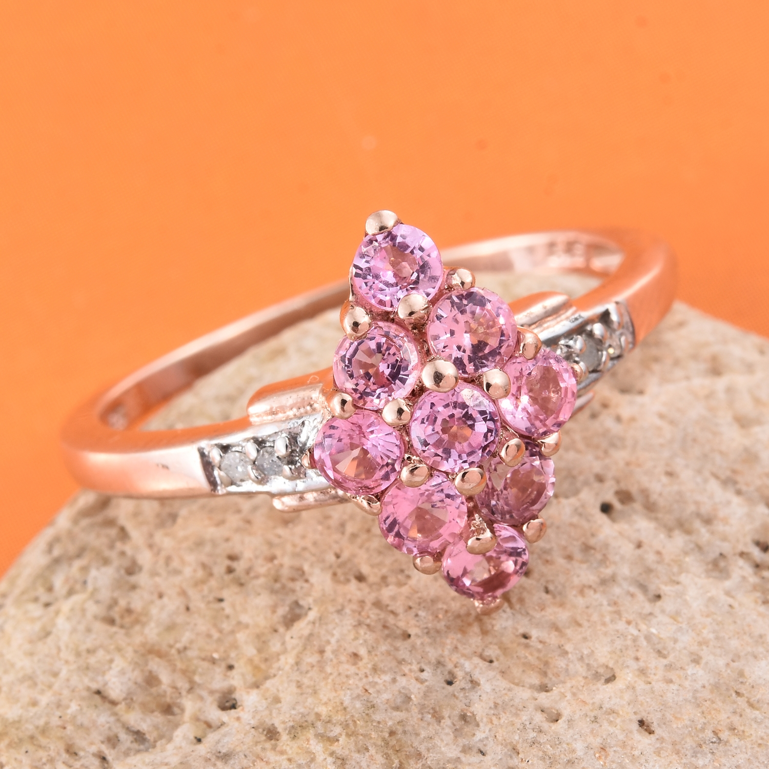 Mahenge Pink Spinel, Diamond Accent 14K RG Over Sterling Silver Ring ...