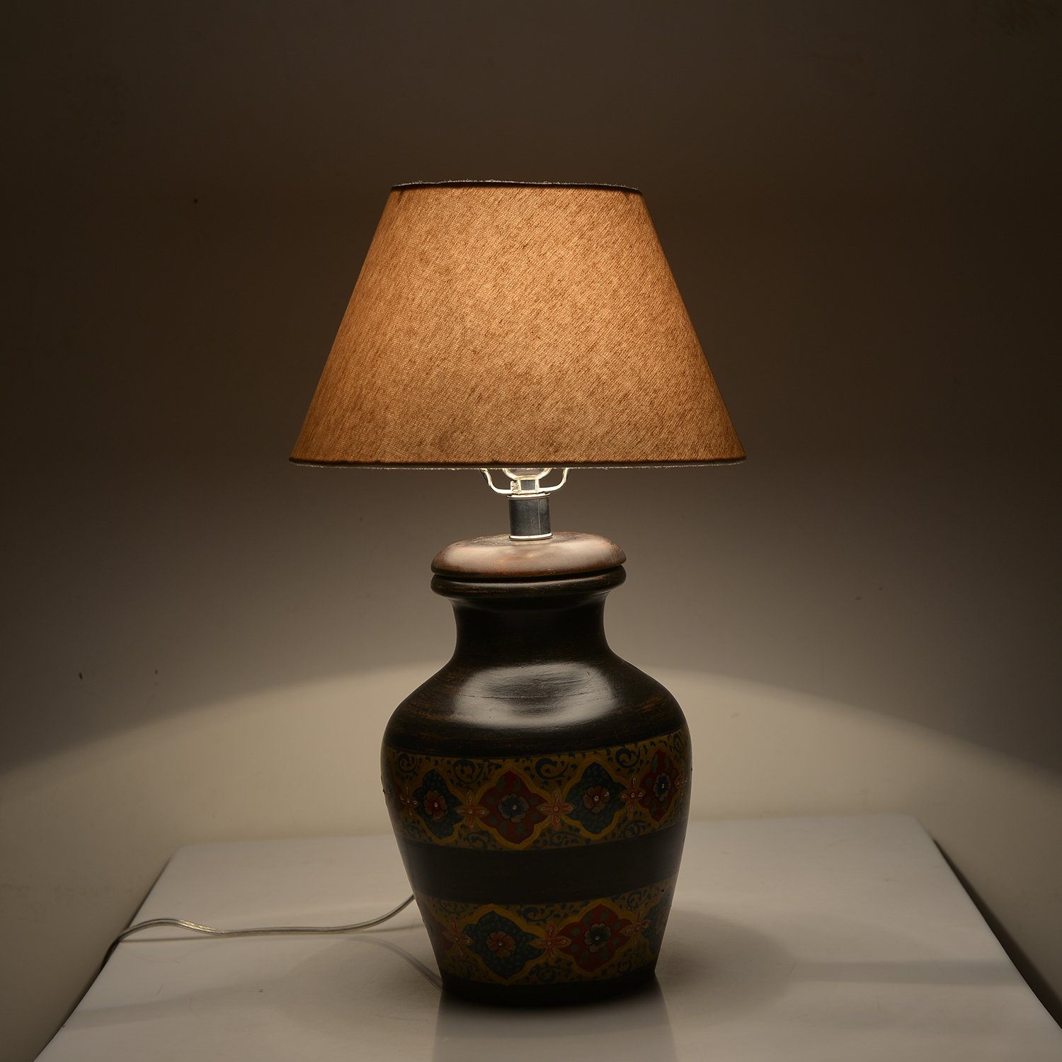 Hand Painted Electrical Golden Floral Stripe Terracotta Clay Flower Pot Table  Lamp (Require G16.