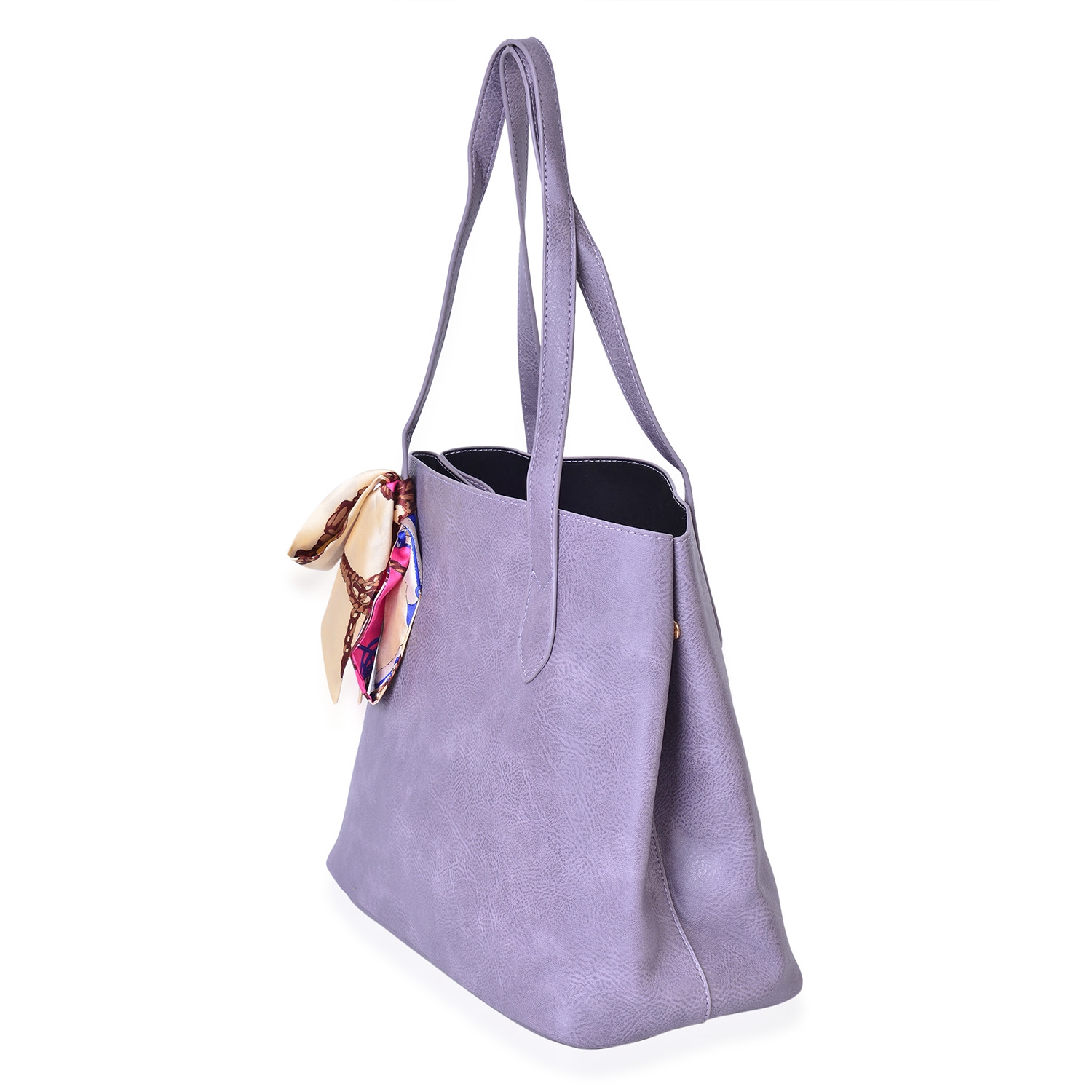 aaeaecb0b7 Lilac Faux Leather Tote Bag with Detachable Interior Pockets (14x5.5x12.5  in) and Multi Color 100% Polyester Scarf (36x1.5 in)