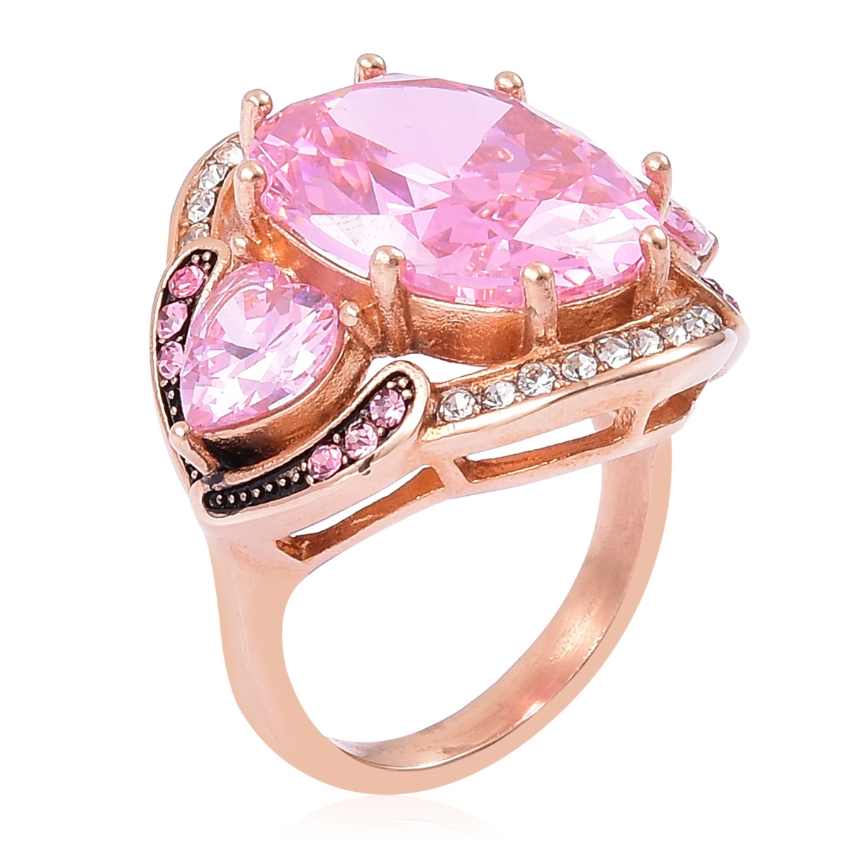 Simulated Pink Diamond, White and Pink Austrian Crystal Black ...