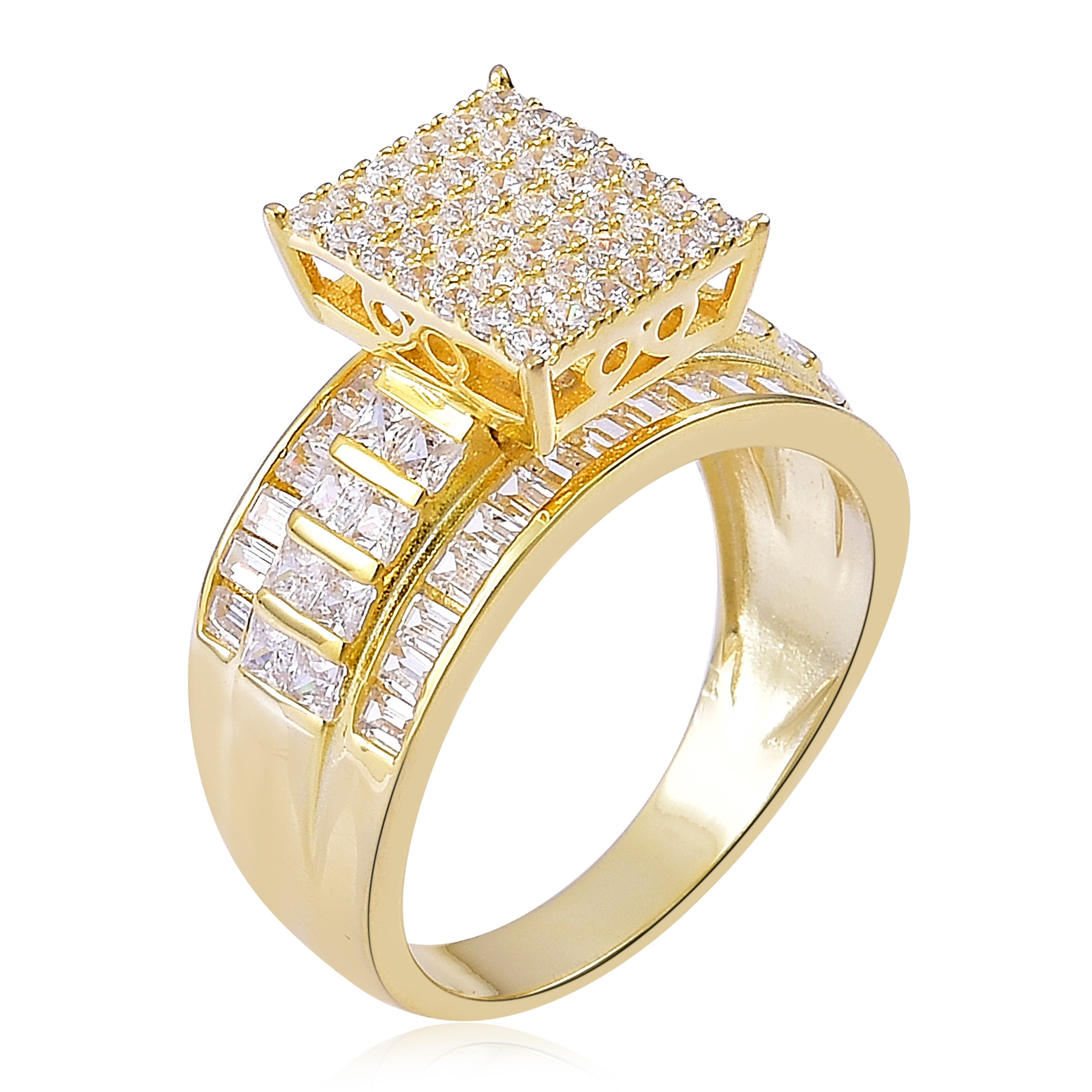asscher p c rings ring bling jewelry cut canary simulated cz silver engagement