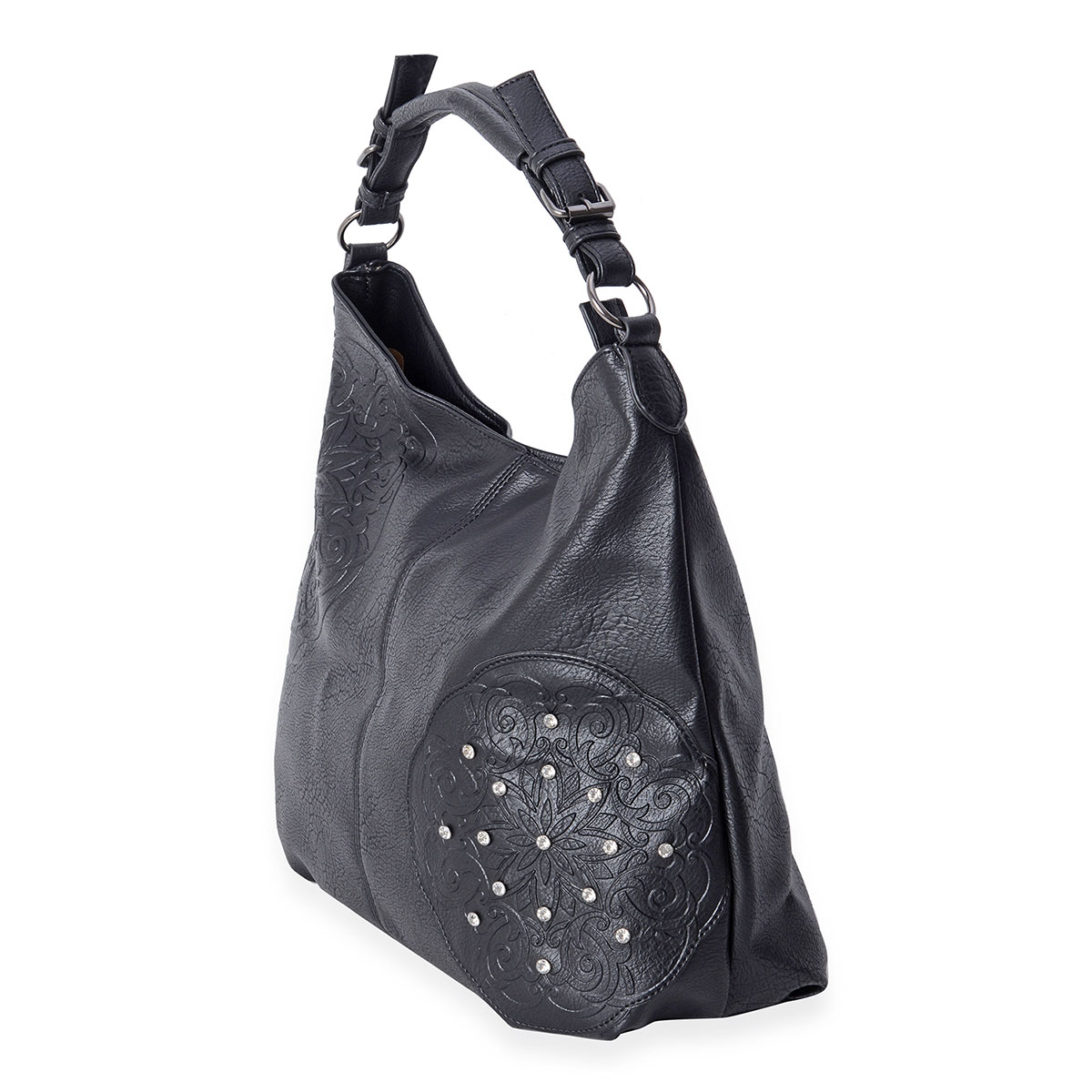 Black Fl Embossed Faux Leather Studded Hobo Bag 18x5 5x11 In