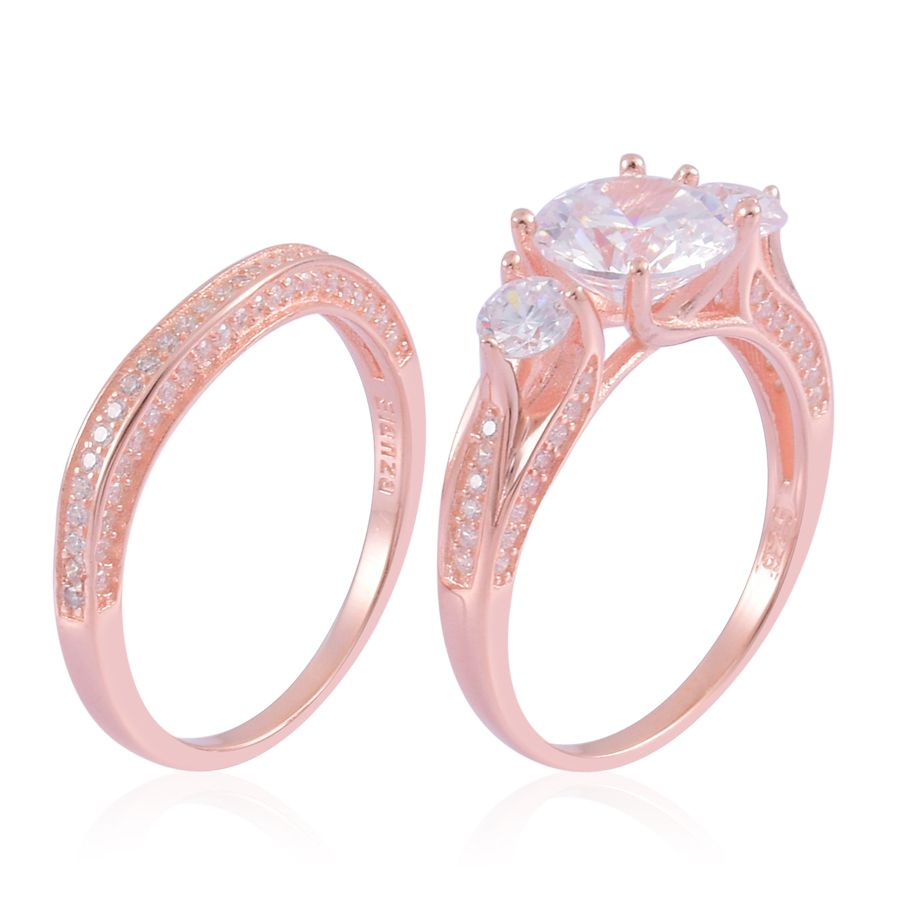 ELANZA Simulated Diamond Set of 2 Rings in 14K RG Overlay Sterling ...