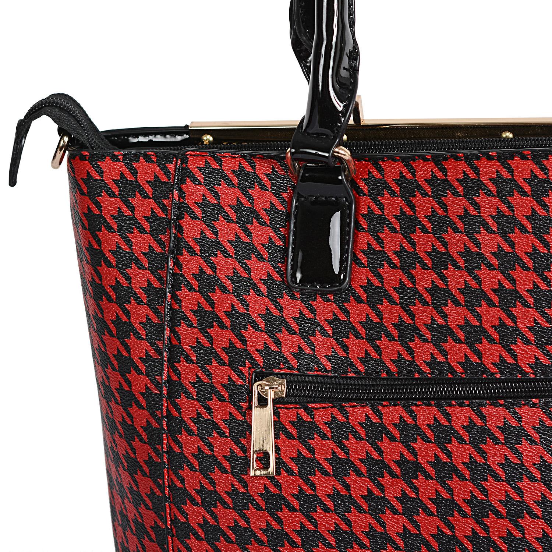 b8482b1c446a ... Black and Red Houndstooth Print Vegan Leather Handbag (14x5x12 in) ...