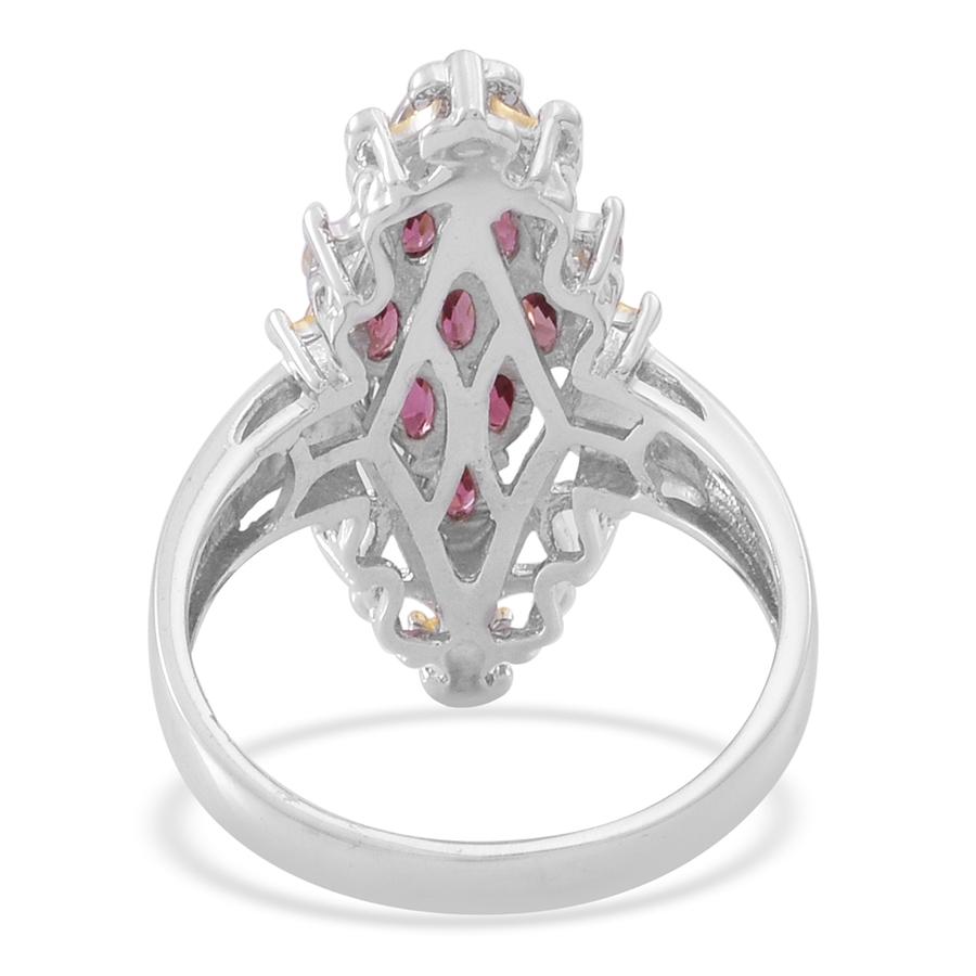 pink tourmaline 14k yg and platinum sterling silver
