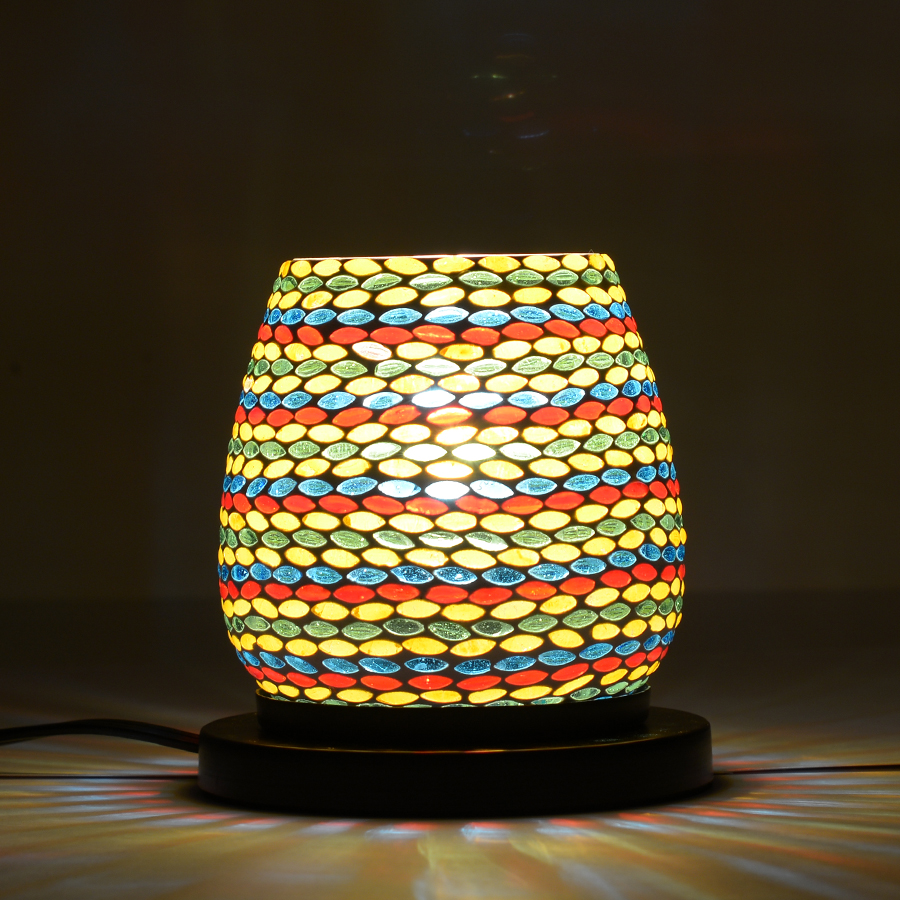 Handcrafted Multi Color Leaf Design Mosaic Electric Lamp with Himalayan Salt (4.5 in) table ...