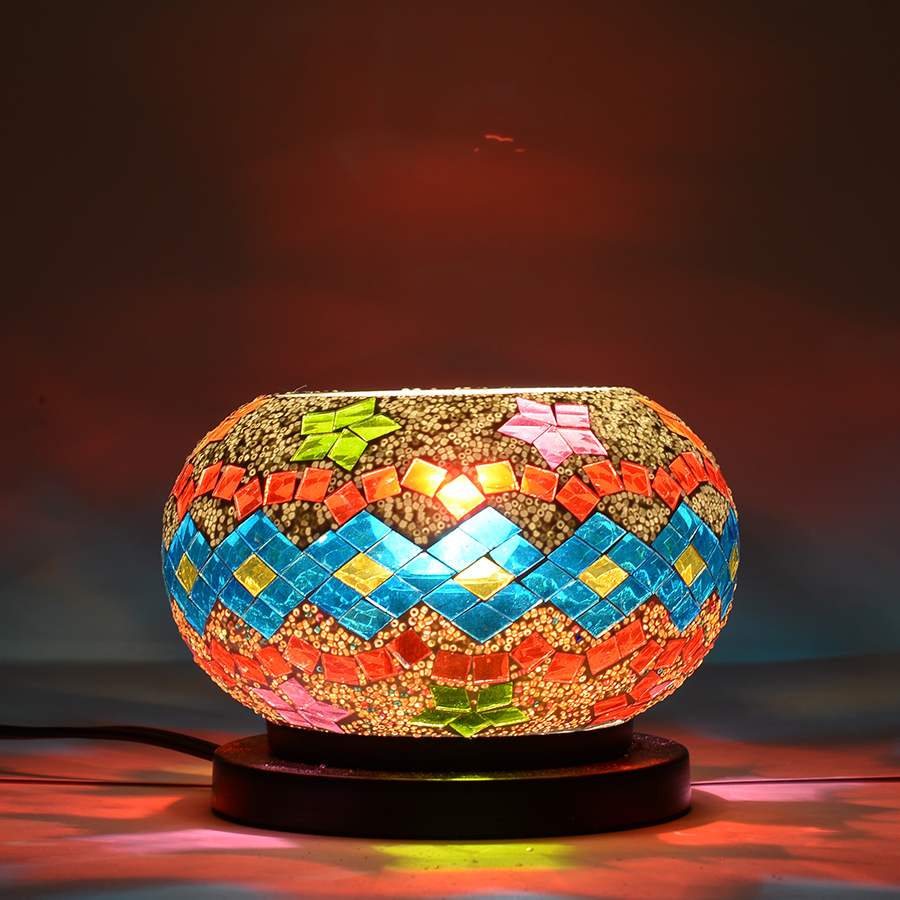 One Day TLV Handcrafted Multi Color Star and Rhombus Design Mosaic Electric Lamp with Himalayan ...