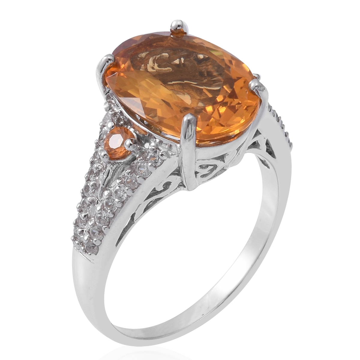 Brazilian Citrine, Multi Gemstone Platinum Over Sterling Silver Ring (Size 5.0) TGW 9.55 cts.