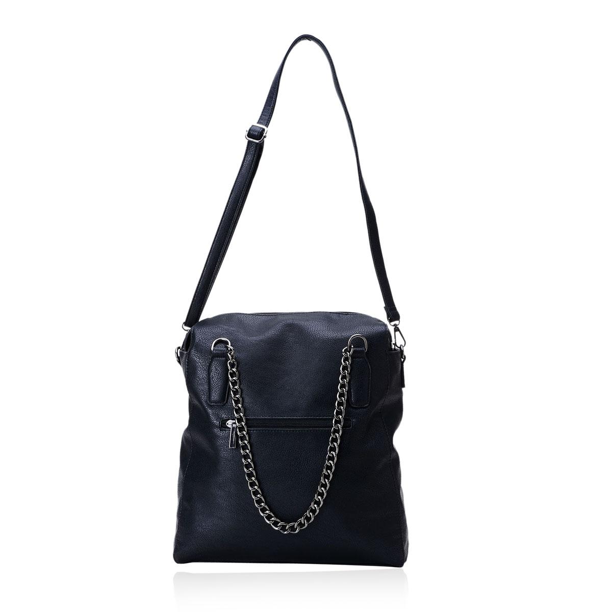 Black Faux Leather Shoulder Bag (12x5x12 in)