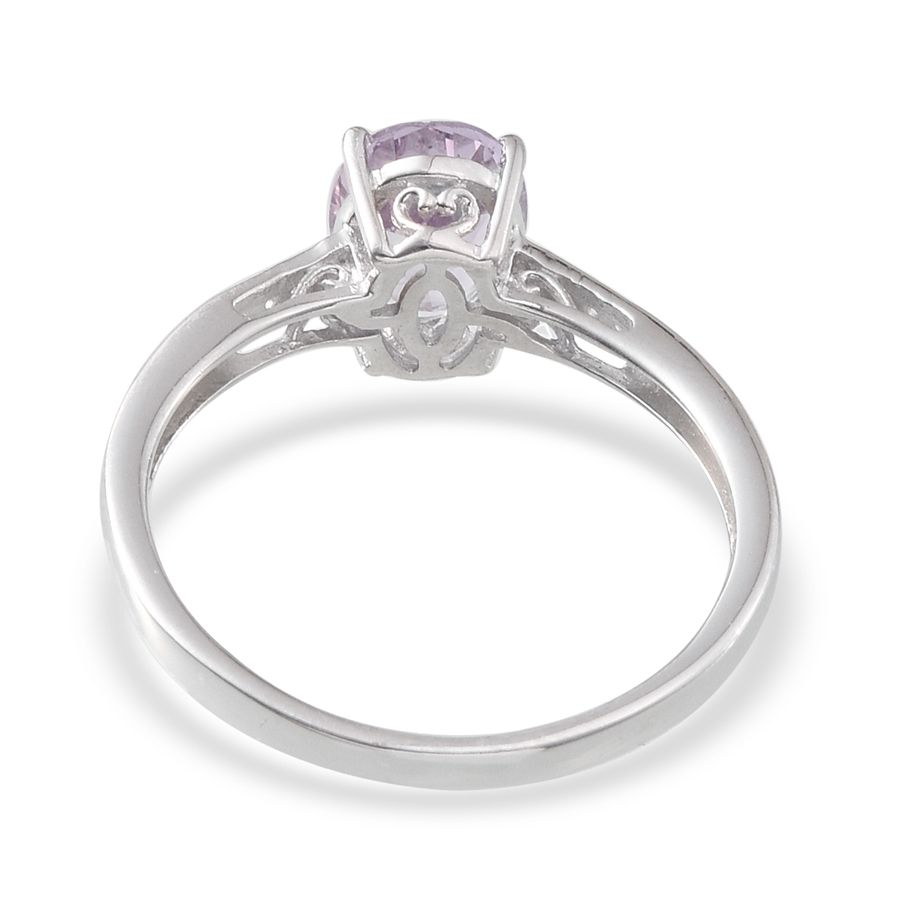 Rose De France Amethyst, White Topaz Platinum Over Sterling Silver Solitaire Ring (Size 6.0) TGW 1.480 cts.